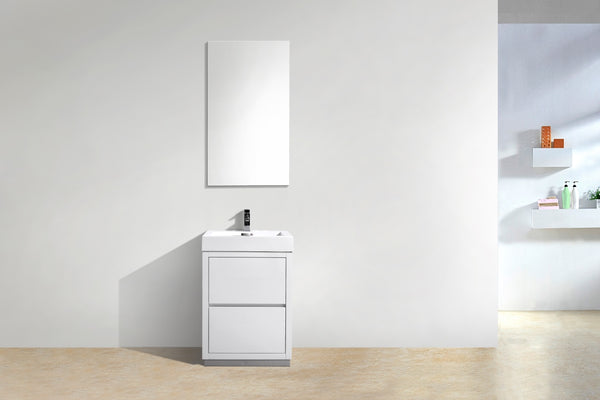 "BLISS 24"" Kubebath Gloss White, Floor Standing Modern Bathroom Vanity - CCSUPPLY INC."