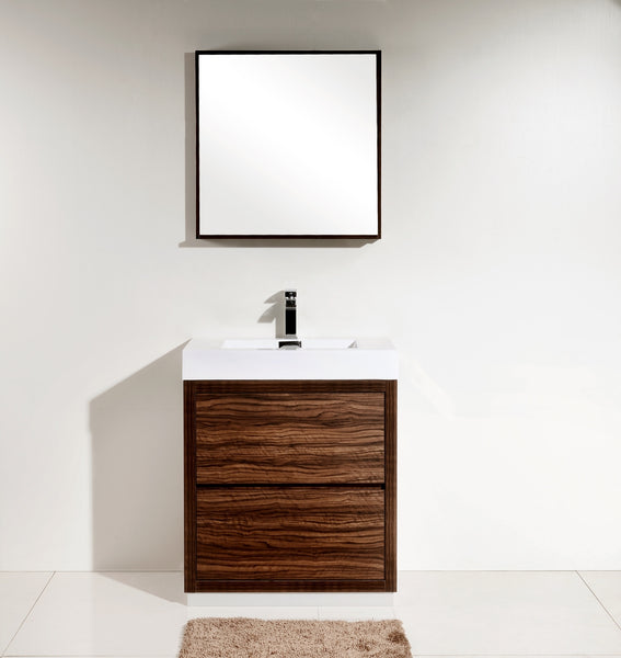 "BLISS 30"" Kubebath Walnut, Floor Standing Modern Bathroom Vanity - CCSUPPLY INC."