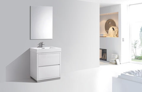 "BLISS 30"" Kubebath Gloss White, Floor Standing Modern Bathroom Vanity - CCSUPPLY INC."