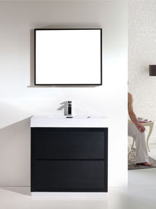 "BLISS- 36"" Kubebath, Black, Floor Standing Modern Bathroom Vanity - CCSUPPLY INC."