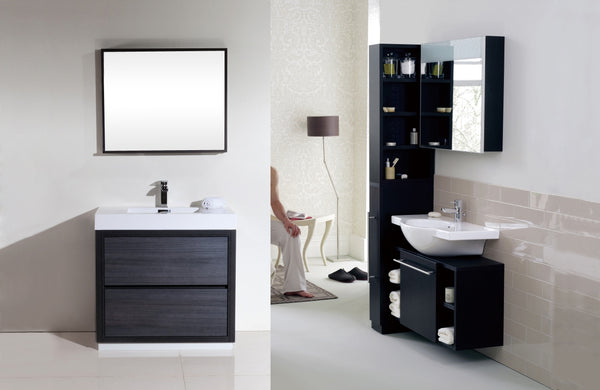 "BLISS- 36"" Kubebath, Gray Oak, Floor Standing Modern Bathroom Vanity - CCSUPPLY INC."