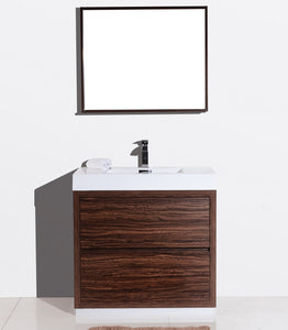 "BLISS- 36"" Kubebath, Walnut, Floor Standing Modern Bathroom Vanity - CCSUPPLY INC."