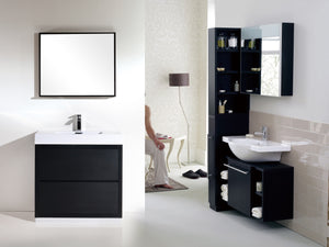 "BLISS- 40"" Kubebath, Black, Floor Standing Modern Bathroom Vanity - CCSUPPLY INC."