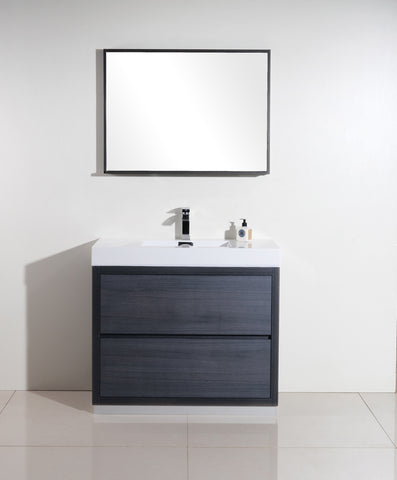 "BLISS- 40"" Kubebath, Gray Oak, Floor Standing Modern Bathroom Vanity - CCSUPPLY INC."