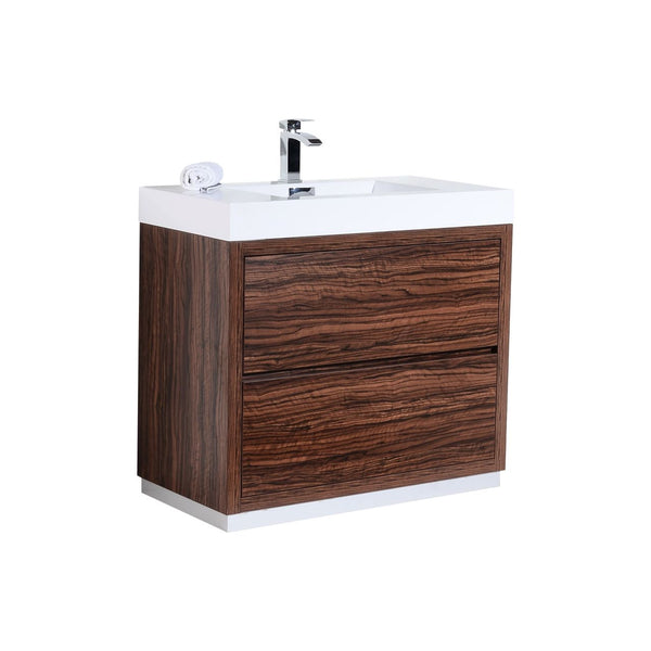 "BLISS- 40"" Kubebath, Walnut, Floor Standing Modern Bathroom Vanity - CCSUPPLY INC."
