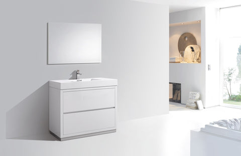 "BLISS- 40"" Kubebath, Gloss White, Floor Standing Modern Bathroom Vanity - CCSUPPLY INC."