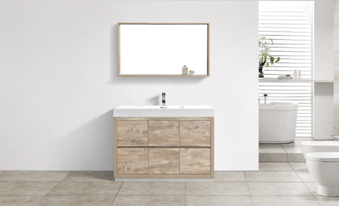 "BLISS- 48"" Kubebath, Nature Wood, Floor Standing Modern Bathroom Vanity - CCSUPPLY INC."