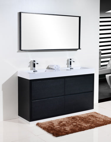 "BLISS- 60"" Kubebath, Black, Double Sink, Floor Standing Modern Bathroom Vanity - CCSUPPLY INC."