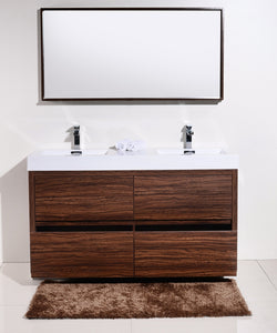 "BLISS- 60"" Kubebath, Walnut, Double Sink, Floor Standing Modern Bathroom Vanity - CCSUPPLY INC."