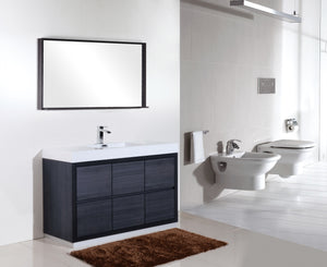 "BLISS- 60"" Kubebath, Gray Oak, Single Sink, Floor Standing Modern Bathroom Vanity - CCSUPPLY INC."