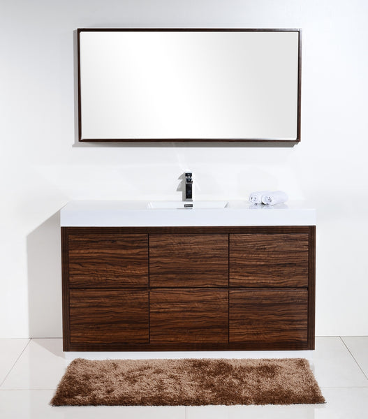 "BLISS- 60"" Kubebath, Walnut, Single Sink, Floor Standing Modern Bathroom Vanity - CCSUPPLY INC."