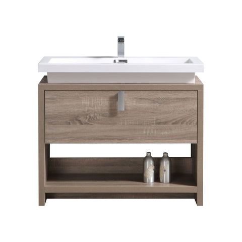 "LEVI- 40"" Kubebath, Havana Oak, Floor Standing Modern Bathroom Vanity With Cubby Hole - CCSUPPLY INC."