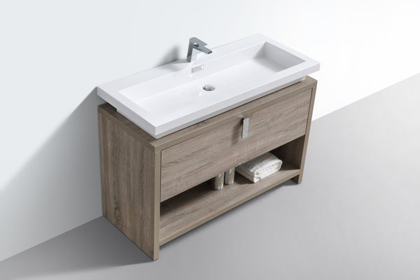 "LEVI- 48"" Kubebath, Havana Oak, Floor Standing Modern Bathroom Vanity With Cubby Hole - CCSUPPLY INC."