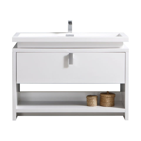 "LEVI- 48"" Kubebath, High Gloss White, Floor Standing Modern Bathroom Vanity With Cubby Hole - CCSUPPLY INC."