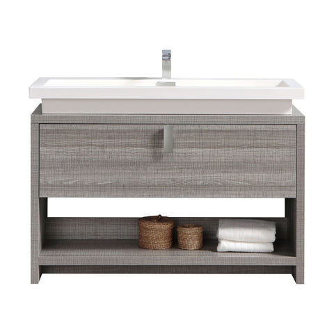 "LEVI- 48"" Kubebath, Ash Gray, Floor Standing Modern Bathroom Vanity With Cubby Hole - CCSUPPLY INC."
