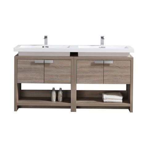"LEVI- 63"" Kubebath, Havana Oak, Double Sink, Floor Standing Modern Bathroom Vanity - CCSUPPLY INC."
