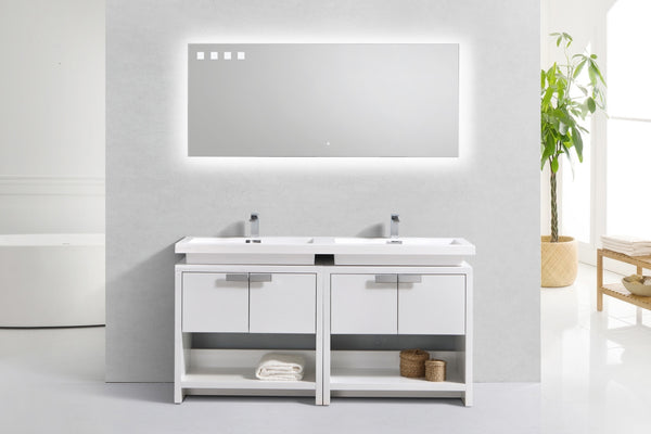 "LEVI- 63"" Kubebath, High Gloss White, Double Sink, Floor Standing Modern Bathroom Vanity With Cubby Hole - CCSUPPLY INC."