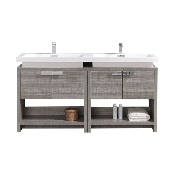 "LEVI- 63"" Kubebath, Ash Gray, Double Sink, Floor Standing Modern Bathroom Vanity With Cubby Hole - CCSUPPLY INC."