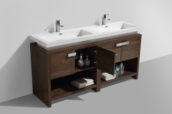 "LEVI- 63"" Kubebath, Rose Wood, Double Sink, Floor Standing Modern Bathroom Vanity With Cubby Hole - CCSUPPLY INC."