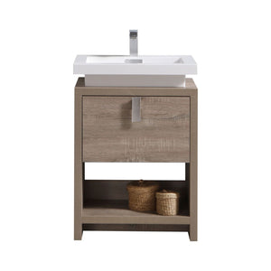 "LEVI- 24"" Kubebath, Havana Oak, Floor Standing Modern Bathroom vanity With Cubby Hole - CCSUPPLY INC."