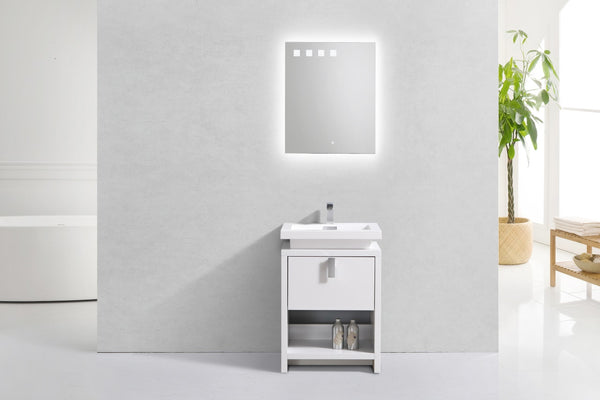 "LEVI- 24"" Kubebath, Gloss White, Floor Standing Modern Bathroom Vanity With Cubby Hole - CCSUPPLY INC."