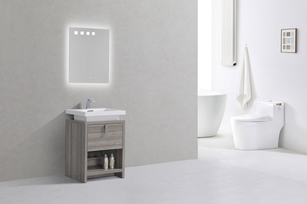 "LEVI- 24"" Kubebath, Ash Gray, Floor Standing Modern Bathroom Vanity With Cubby Hole - CCSUPPLY INC."
