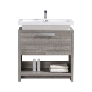 "LEVI- 32"" Kubebath, Ash Gray, Floor Standing Modern Bathroom Vanity With Cubby Hole - CCSUPPLY INC."
