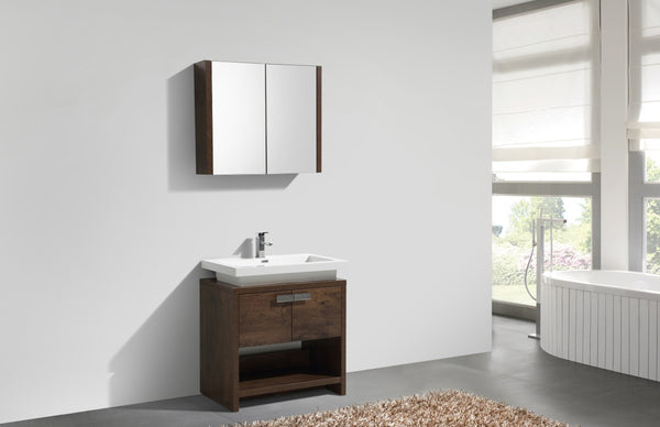 "LEVI- 30"" Kubebath, Rose Wood, Floor Standing Modern Bathroom Vanity With Cubby Hole - CCSUPPLY INC."