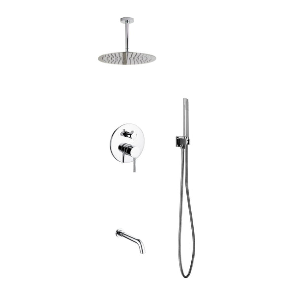 Aqua Rondo- Shower Faucet With Ceiling Mount 12″ Rain Shower, Handheld and Tub Filler - CCSUPPLY INC.