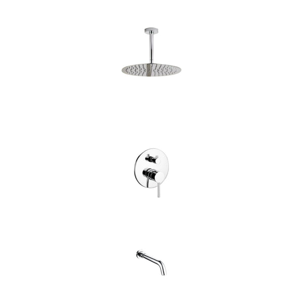 Aqua Rondo- Shower Faucet With Ceiling Mount 12″ Rain Shower and Tub Filler - CCSUPPLY INC.