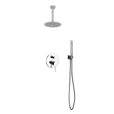 Aqua Rondo- Shower Faucet With Ceiling Mount 8″ Rain Shower and Handheld - CCSUPPLY INC.