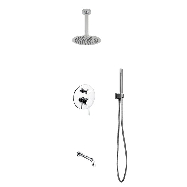 Aqua Rondo- Shower Faucet With Ceiling Mount 8″ Rain Shower, Handheld and Tub Filler - CCSUPPLY INC.