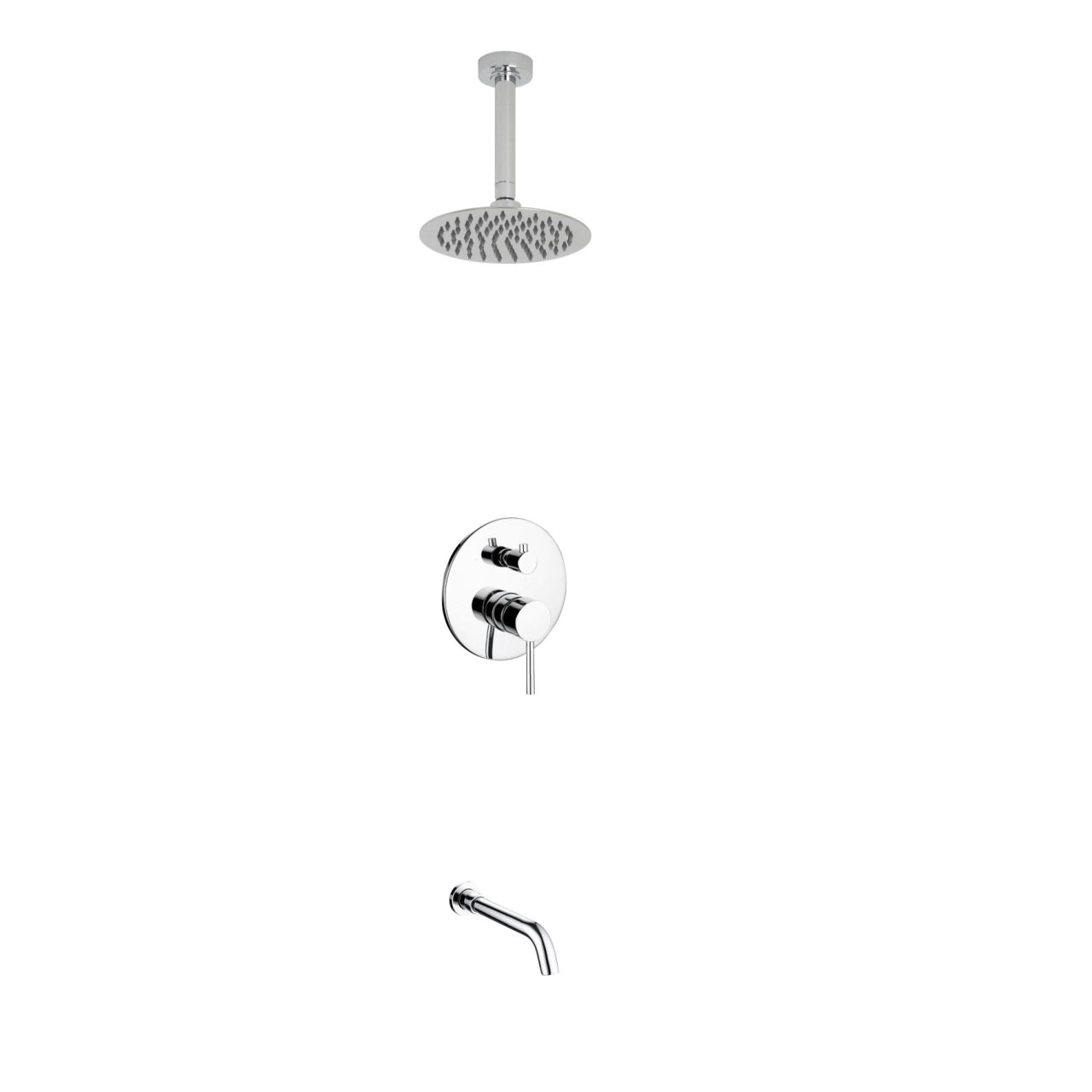 Aqua Rondo- Shower Faucet With Ceiling Mount 8″ Rain Shower and Tub Filler - CCSUPPLY INC.
