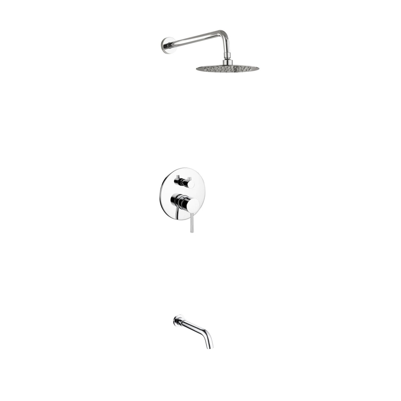 Aqua Rondo- Shower Faucet With 8″ Rain Shower and Tub Filler - CCSUPPLY INC.