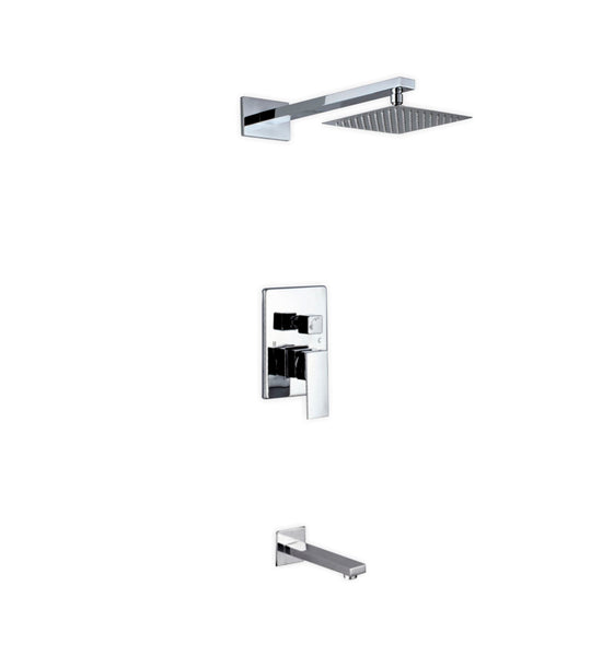 Aqua Piazza- Shower Faucet With 12″ Square Rain Shower and Tub Filler - CCSUPPLY INC.