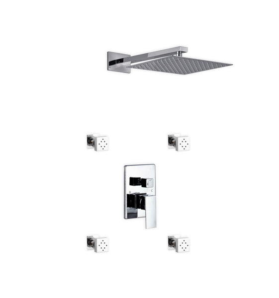 Aqua Piazza- Shower Faucet With 12″ Square Rain Shower and 4 Body Jets - CCSUPPLY INC.