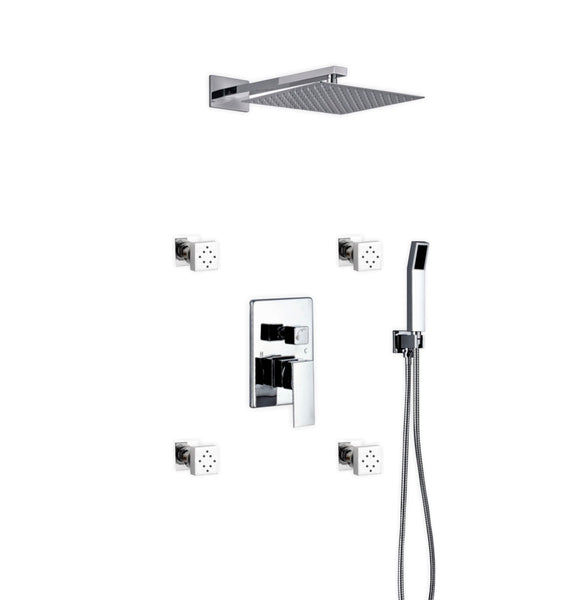 Aqua Piazza- Shower Faucet With 12″ Square Rain Shower, Handheld and 4 Body Jets - CCSUPPLY INC.