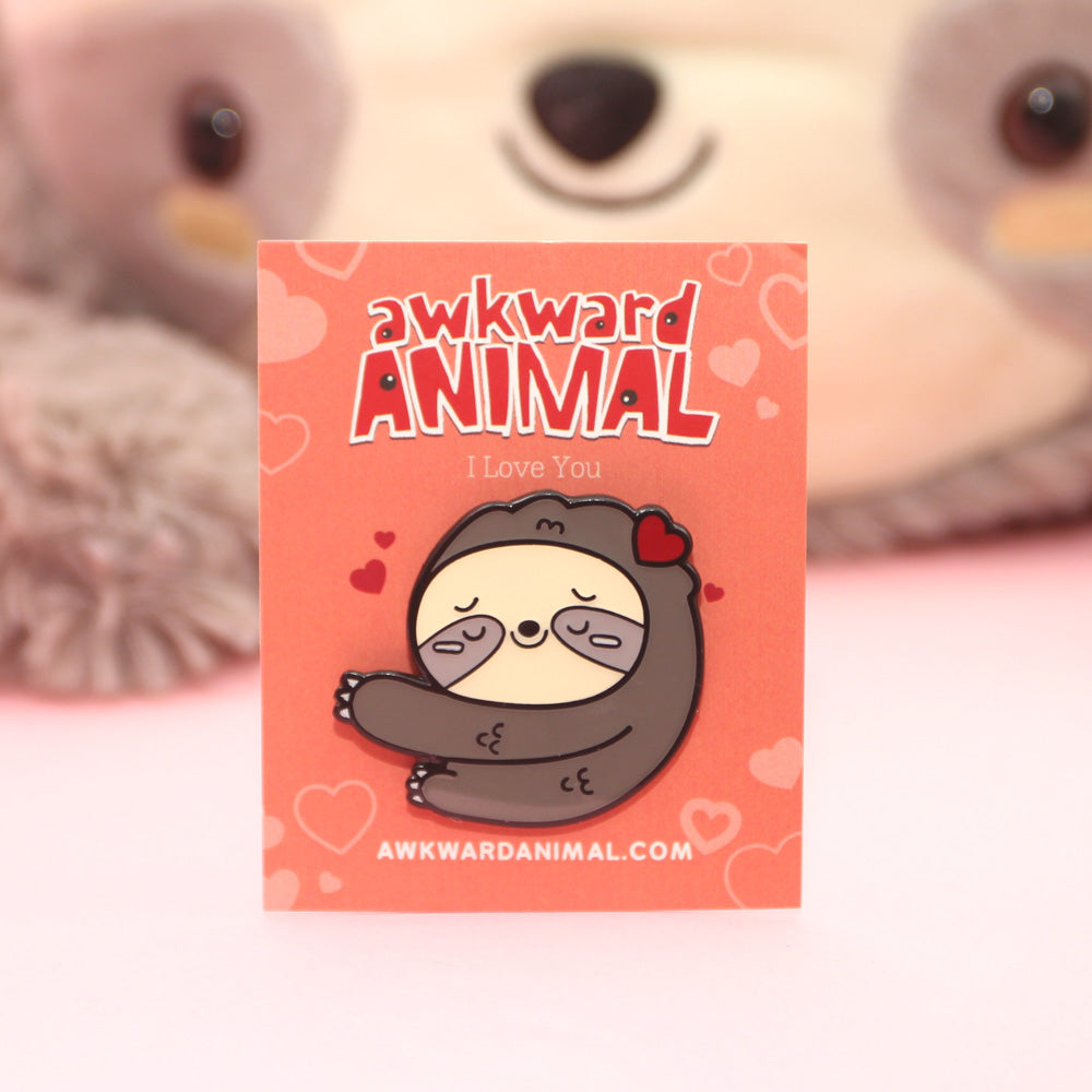 Awkward Sloth Loves you Pin