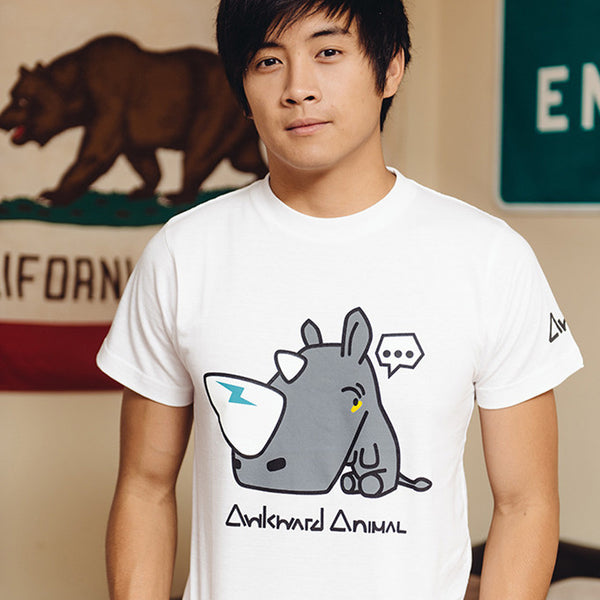 AWKWARD RHINO SHIRT [WHITE] (GUYS)