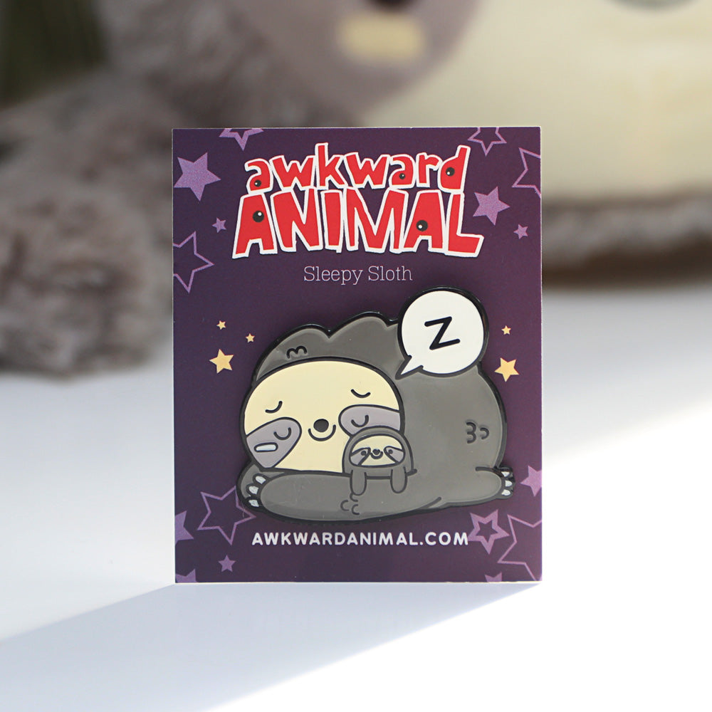 Awkward Sleepy Sloth Pin
