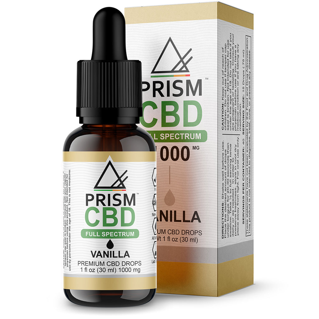 CBD Oil Full Spectrum Vanilla 500mg 30ml Bottle and Box