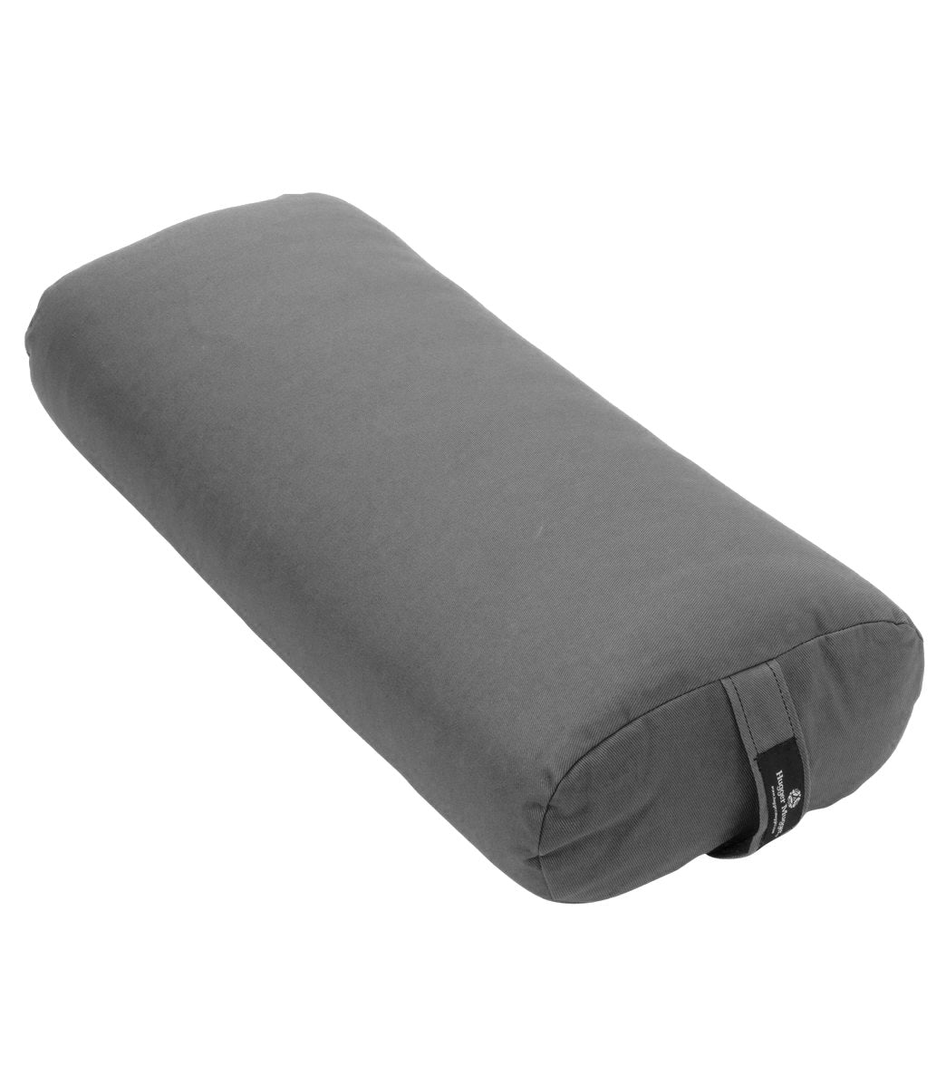 Make your yoga practice more enjoyable with the Hugger Mugger(TM) Standard Yoga Bolster. Ideal for restorative yoga, but great for all types. Removable cover with a convenient handle. Oval shape with a flat surface for comfort. Cover composition: 100% Cotton. Stuffing composition: 80% Cotton Felt / 20% Polyurethane Foam. Dimensions: 6\