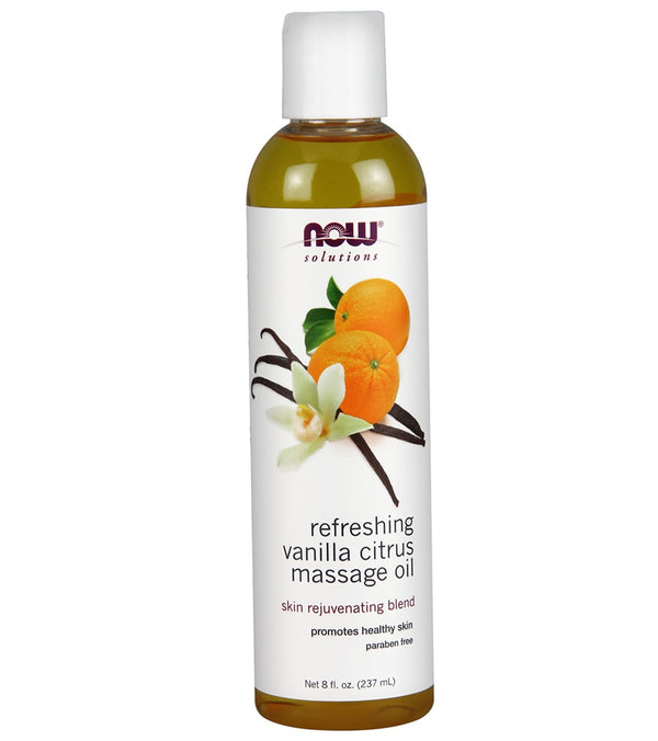 NOW Refreshing Vanilla Citrus Massage Oil 8 oz