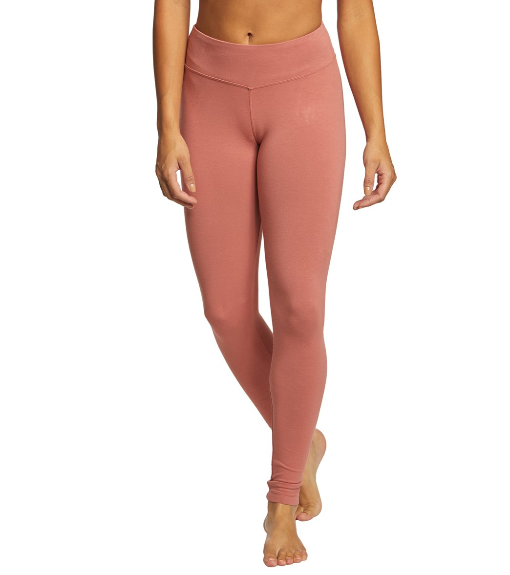 Hard Tail Flat Waist Cotton Ankle Yoga Leggings - Moonstone Ombre Lava