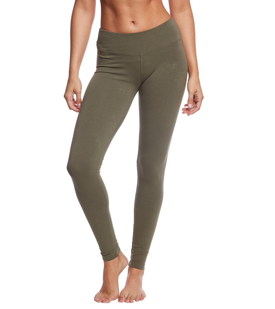 Hard Tail Flat Waist Cotton Ankle Yoga Leggings - Olive