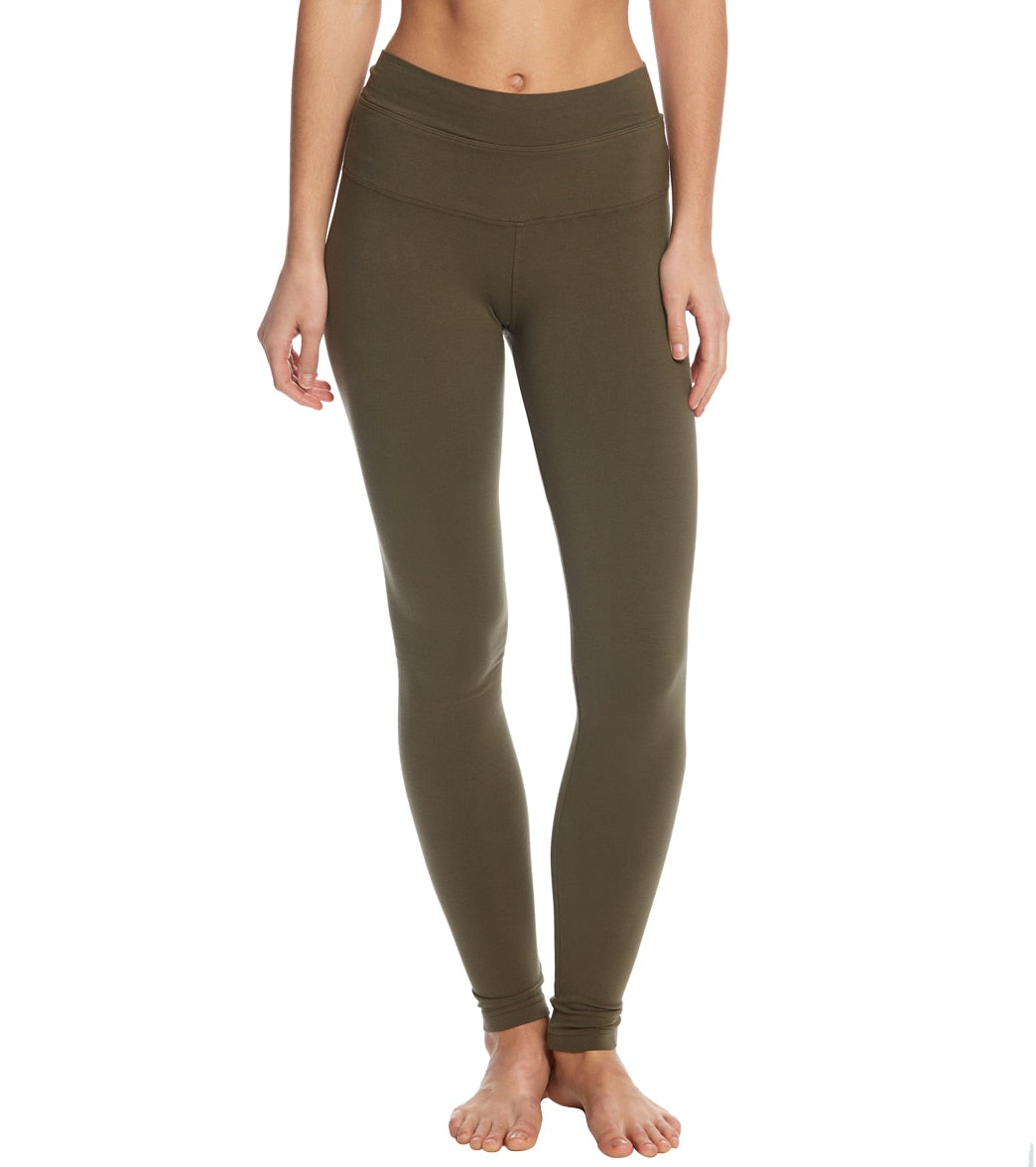 Hard Tail High Waisted Cotton Ankle Yoga Leggings - Olive