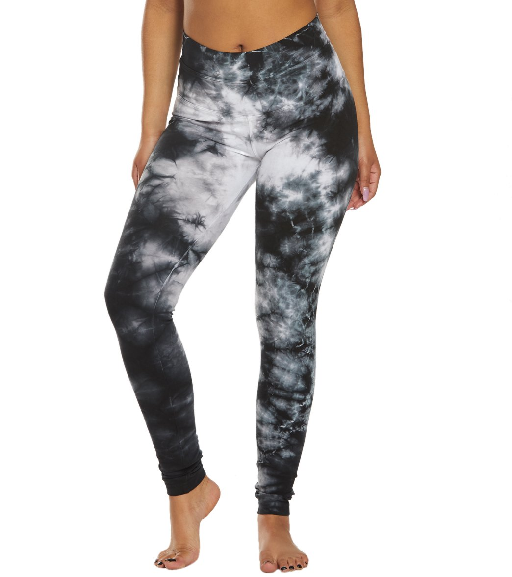 Hard Tail High Waisted Cotton Ankle Yoga Leggings - Wash Black/White Moon