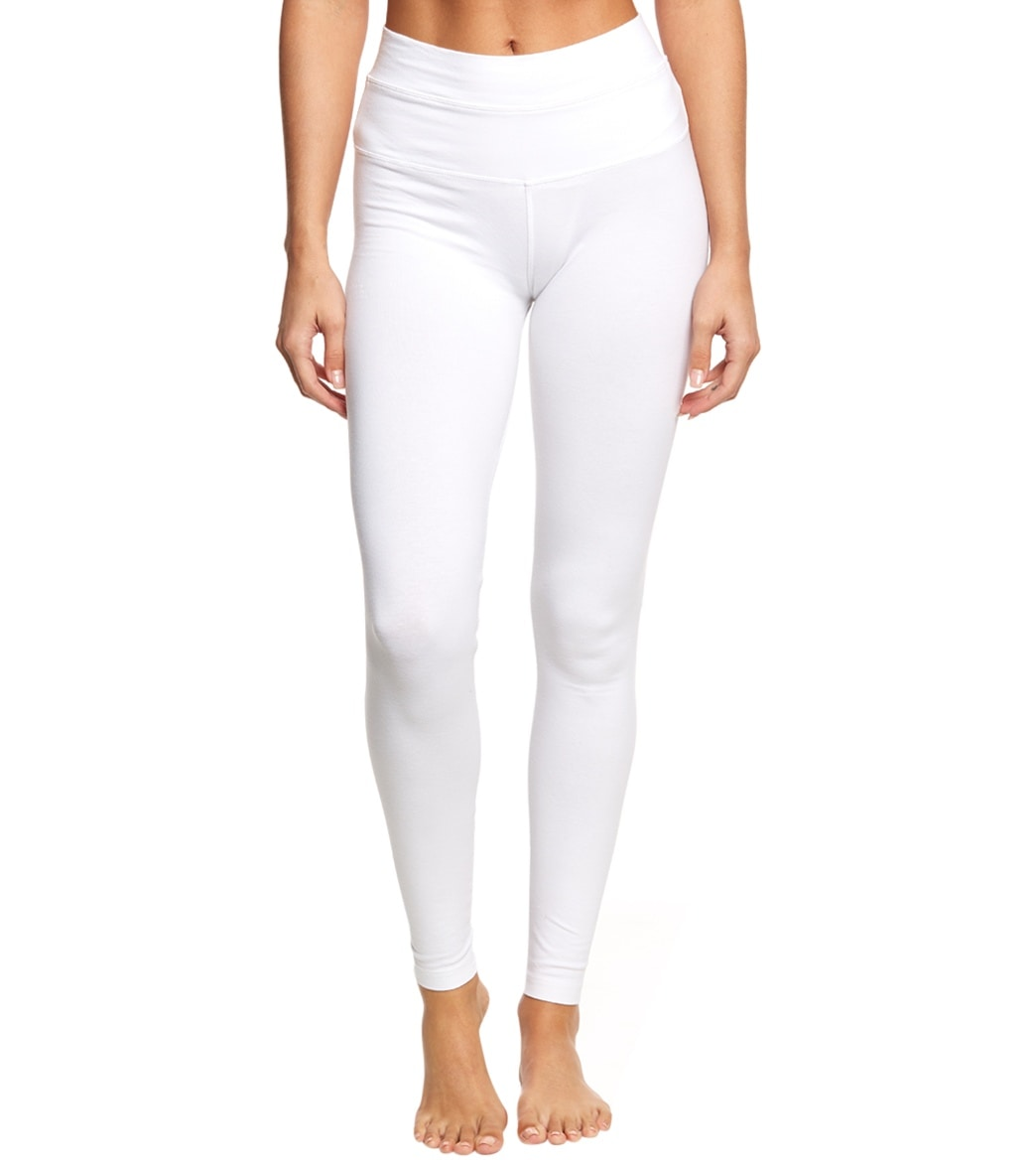 Hard Tail High Waisted Cotton Ankle Yoga Leggings - White