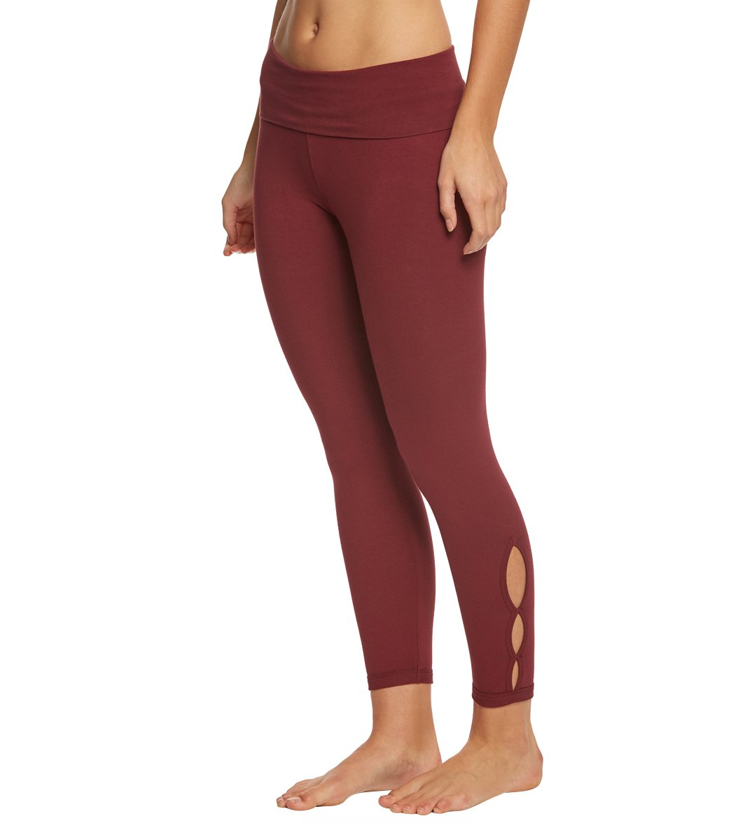 Hard Tail Contour Rolldown Cropped Cotton Yoga Leggings - Fig