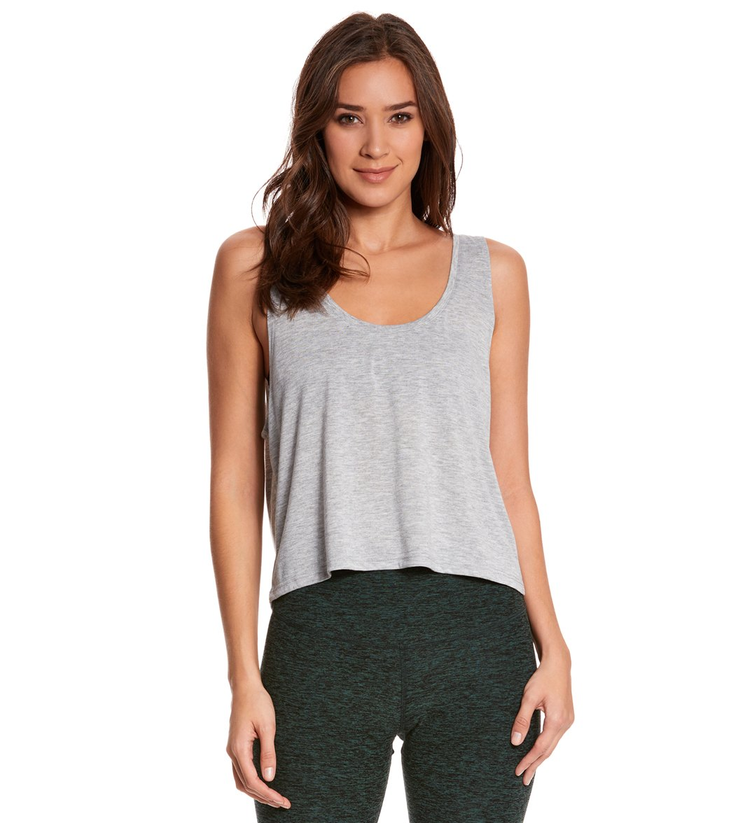 Bella + Canvas Women's Flowy Boxy Workout Tank Top - Athletic Heather - Large/X-Large Cotton
